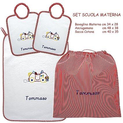 Asciugamani E Bavaglini Personalizzati.Coccole Set Asilo Scuola Materna Macchina Rossa 4 Pezzi 2