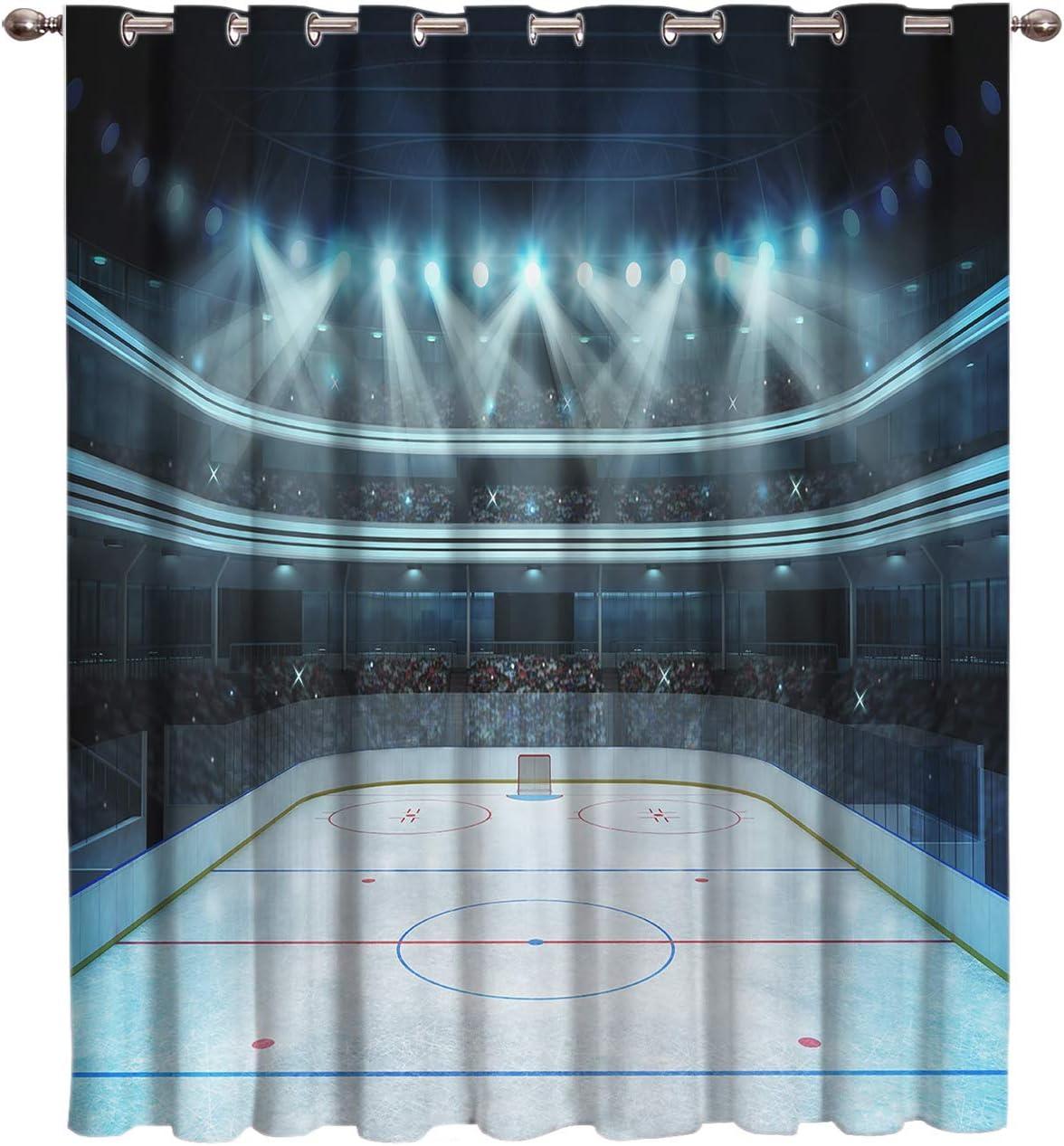 Arts Language Blackout Curtains Grommet Drapes for Boys Girls Kids Bedroom Hockey Area Spotlight Audience Printed Room Darkening Curtains Grommet for Livingroom Office, 1 Panel 52x96in