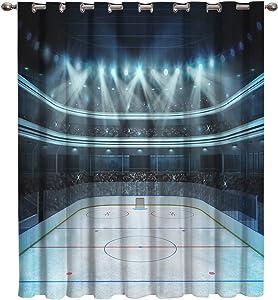Arts Language Blackout Curtains Grommet Drapes for Boys/Girls Kids Bedroom Hockey Area Spotlight Audience Printed Room Darkening Curtains Grommet for Livingroom/Office, 1 Panel 52x63in