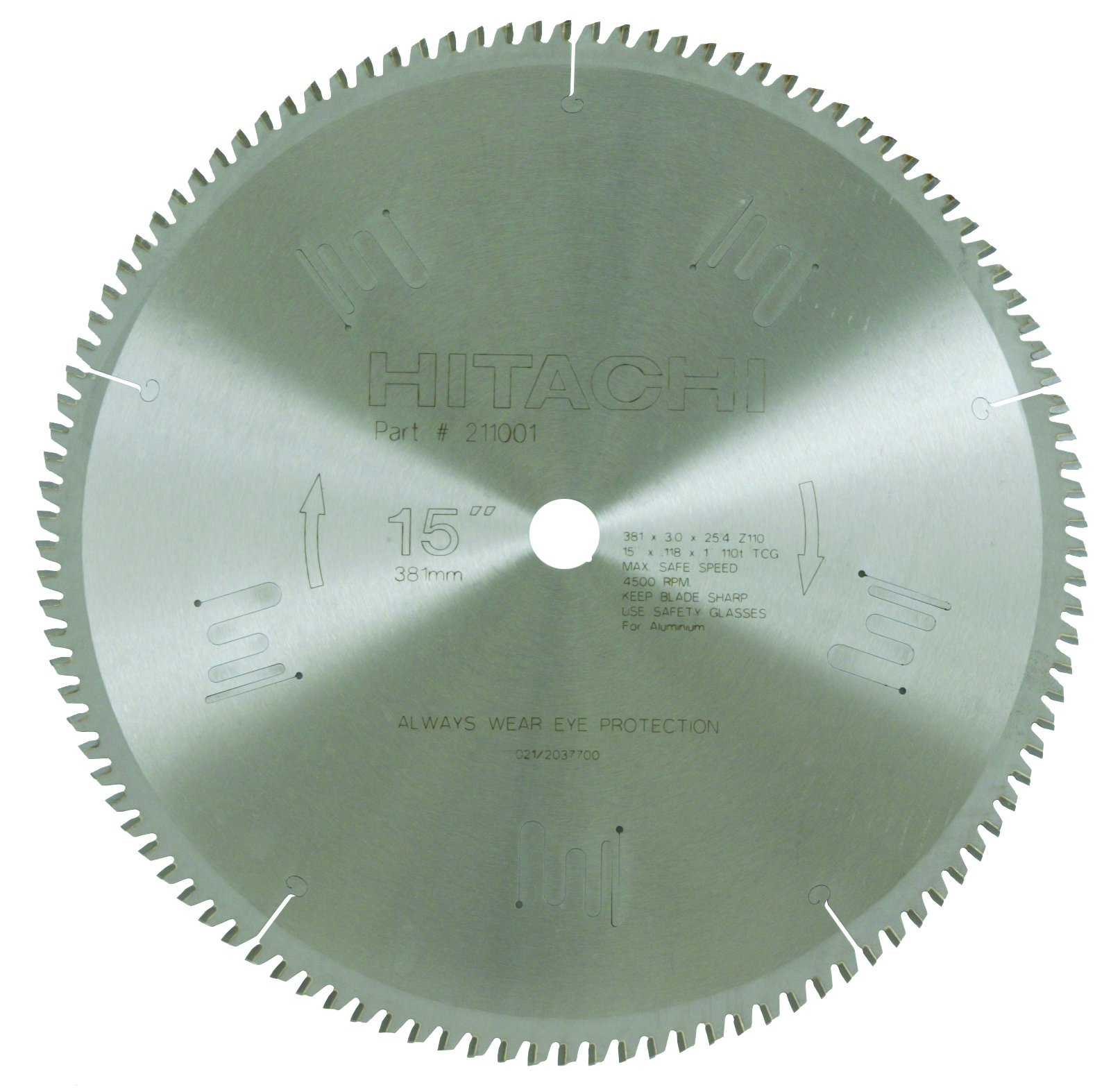 Hitachi 211001 110-Teeth Tungsten Carbide Tipped 15-Inch Triple Chip Saw Blade by Hitachi