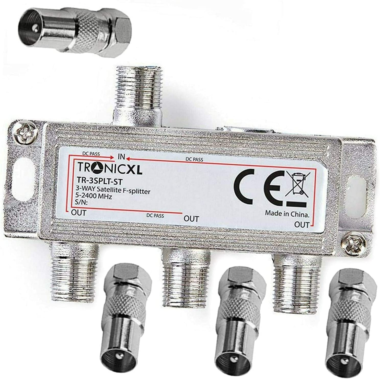 TronicXL Set di 3 connettori per antenna TV DVBC per splitter Unitymedia