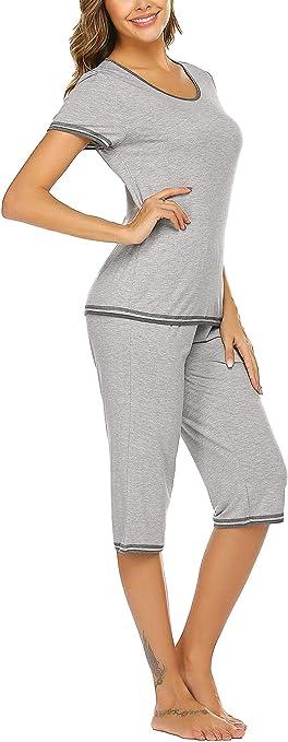 UNibelle Womens Nursing Sleepwear Pajamas Set Short Sleeve Tops and Long Pants