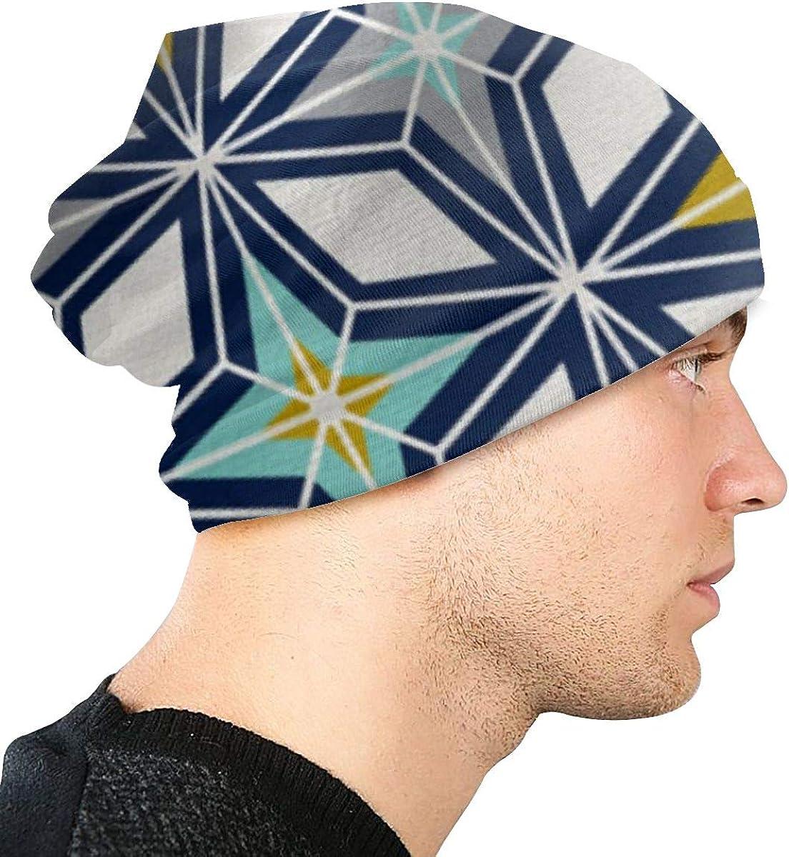 Unisex Navy /& Gold Midcentury Modern Geometric Running Beanie Cap Cuffed Plain Skull Cap Hat
