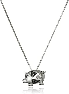 Amazon 10k rose gold diamond flying pig pendant necklace 1 sterling silver black and white diamond accent pig pendant necklace mozeypictures Gallery
