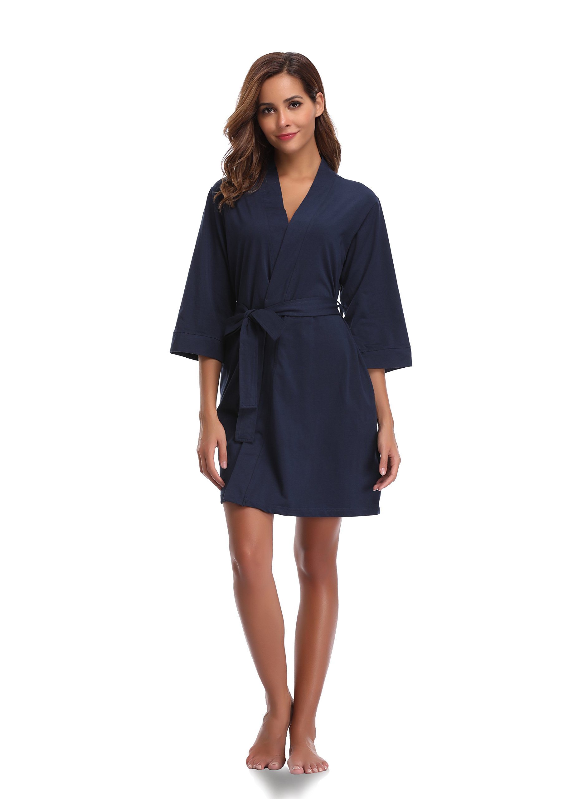 Luvrobes Women's Cotton Knit Kimono Robe (M, Navy)