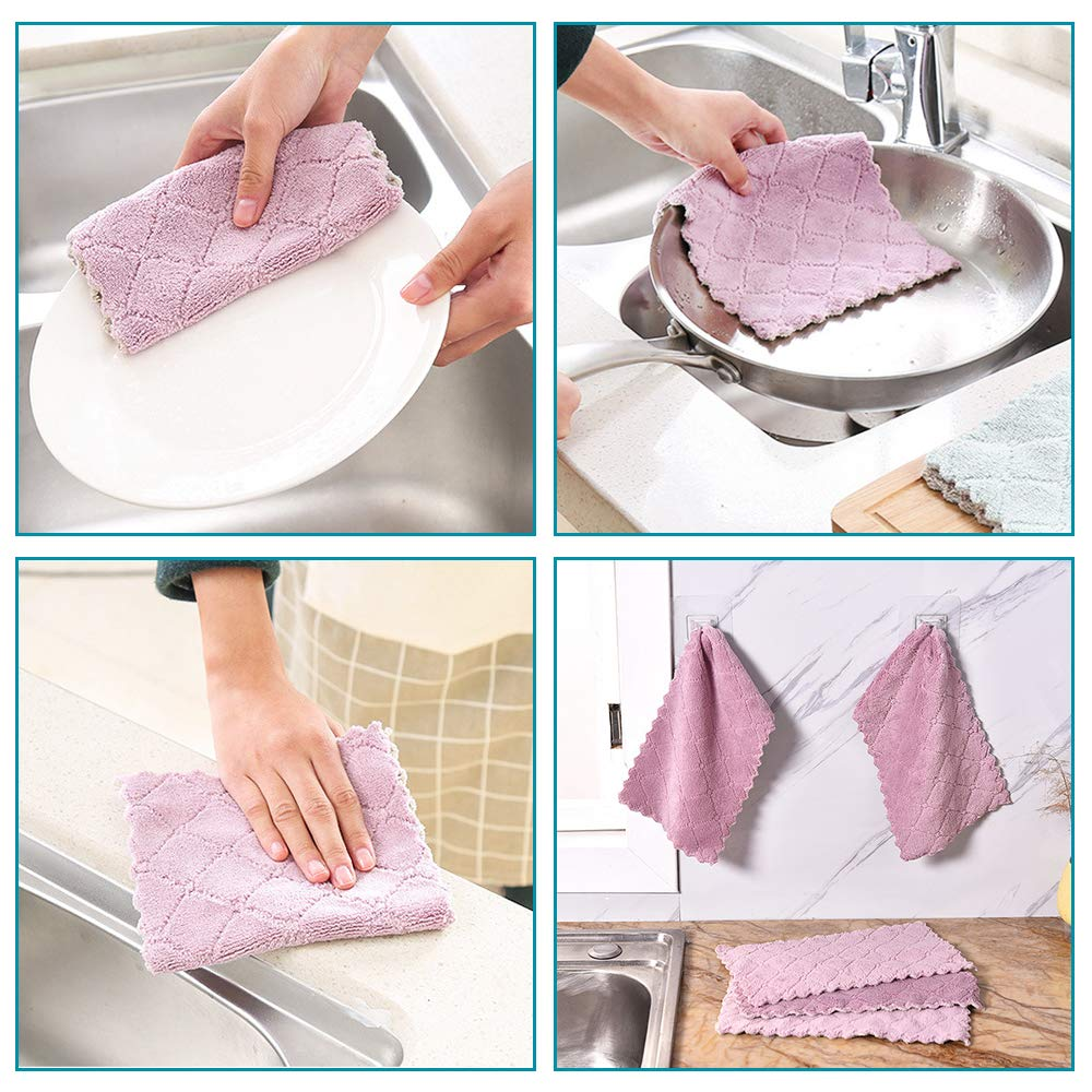 """B. SHINE Stove Burner Covers - Reusable Gas Stove Burner Liners Gas Range Protectors, Keep Your Gas Stovetop Clean, Size 10.6""""x 10.6"""", 4 Pack with 2 Dishcloths"""