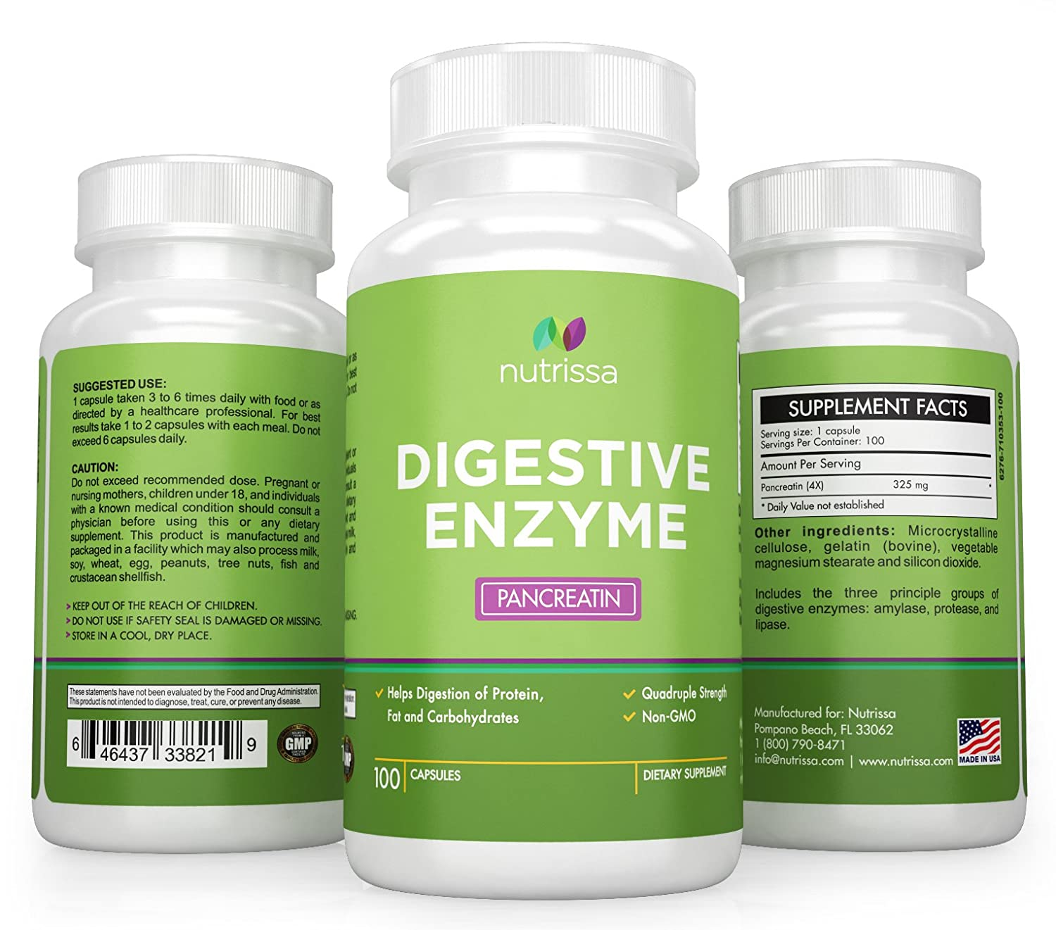 Nutrissa® Digestive Enzymes - Pancreatin 4X - Contains Lipase, Protease and Amylase - Improves...