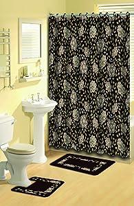 Home Dynamix Bath Boutique Poly-Acrylic 15-Piece Bathroom Set, Brown