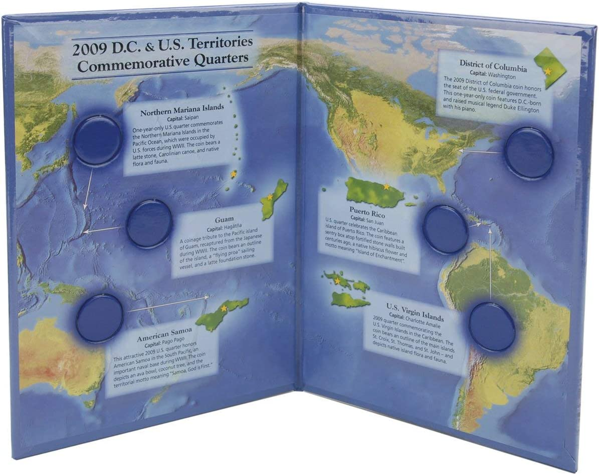 2009 District of Columbia US Territories Quarters Map Littleton New Color Folder