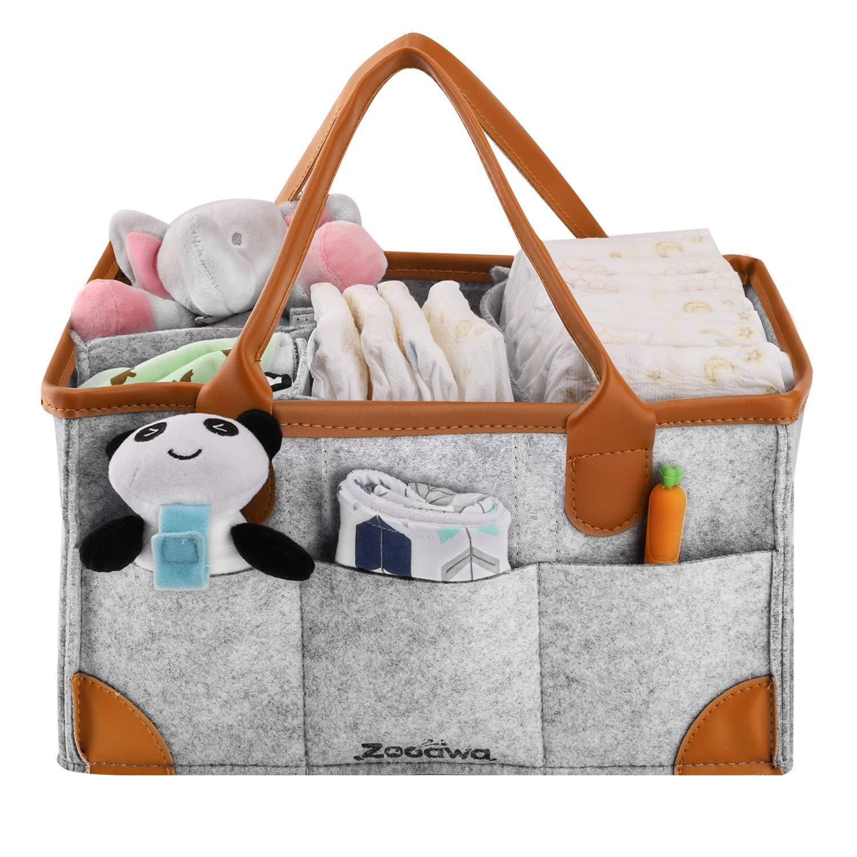 Zooawa Diaper Caddy Organizer, Portable Felt Large Nursery Storage Car Travel Organizer Toy Organizer Nappy Organizer Storage with Handle Carrying, Gray