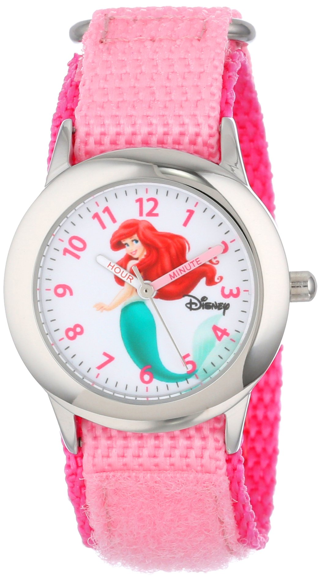 Disney Kids' W000958 Ariel Stainless Steel Watch with Pink Nylon Band