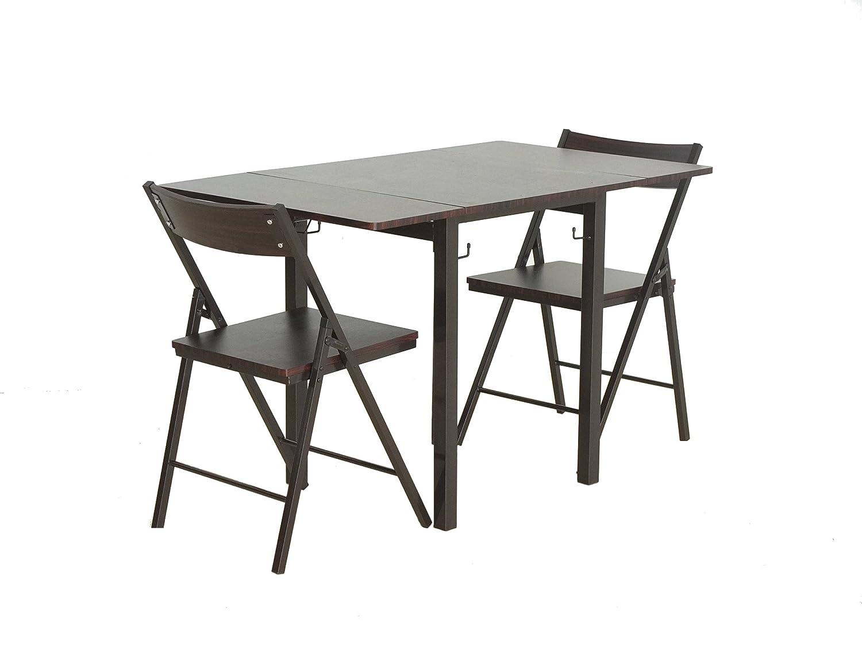 バタフライ(両側折りたたみ)ミーティングテーブル3点セット ウォールナット(DBR) 折りたたみチェア2脚付き B00XOI3HX2 ダークブラウン ダークブラウン