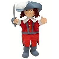 ABA moschettiere-Marionetta da mano, 34 cm, colore: rosso