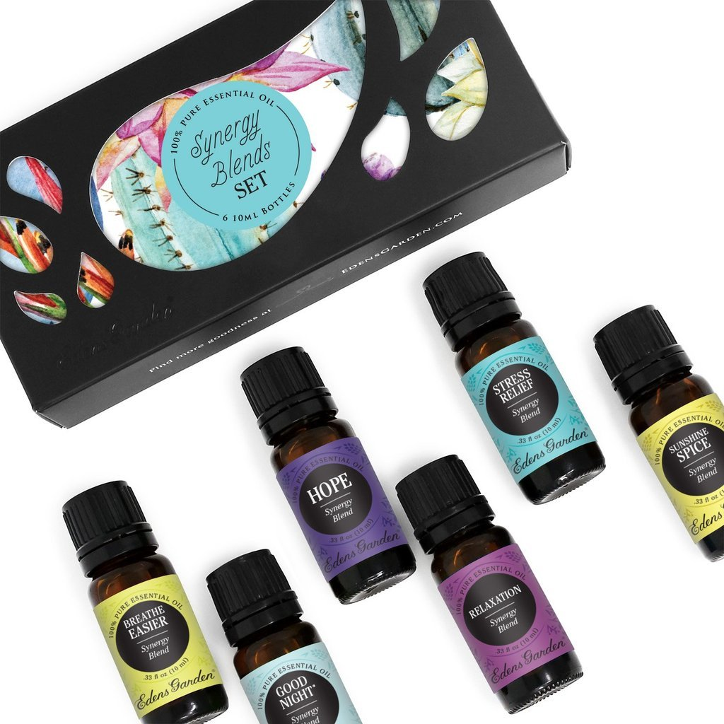 Edens Garden Synergy Blend 6 Set, Best 100% Pure Essential Oil Aromatherapy Starter Kit (For Diffuser & Therapeutic Use), 10 ml