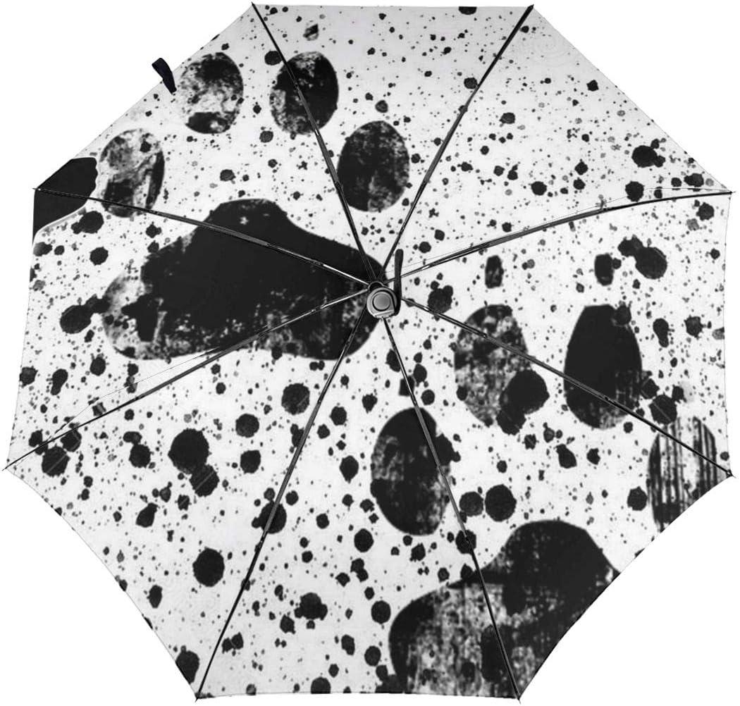 Dog Splatter Paw Painting Automatic Tri-Fold Umbrella Parasol Sun Umbrella Sunshade