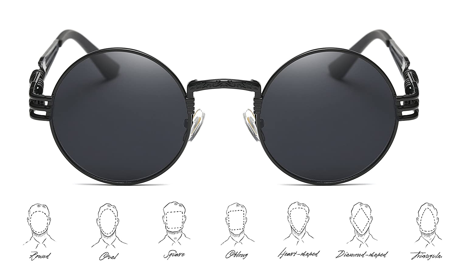b78b888ea Amazon.com: GAMT John Lennon Glasses Quavo Steampunk Round Sunglasses Circle  Metal Frame Eyewear for Men and Women Black Frame Grey Lens: Shoes