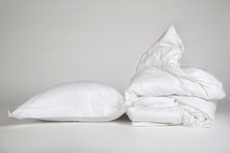 Yumeko Bettwäsche - Bettwäscheset - Baumwollsatin - 135x220 cm - Kissenbezug 80x80 cm - Pure Weiß - Weiß - 100% biologische Baumwolle - ökologisch - weich & geschmeidig - Fair Trade
