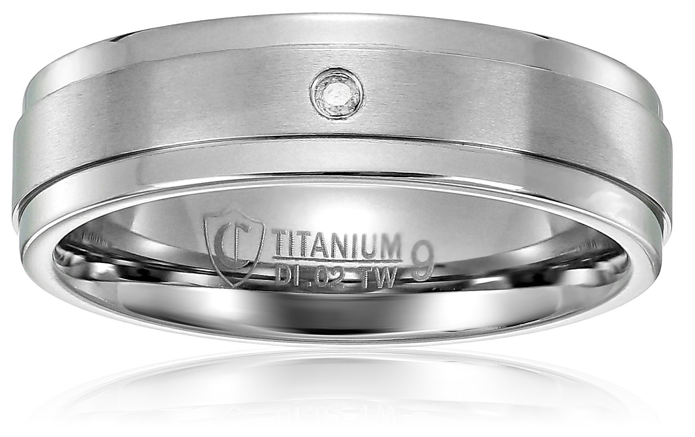 Crucible Jewelry Mens Titanium and 0.02 CTW Diamond Dual Finished Comfort Fit Wedding Band (H-I, SI2), Size 9, White