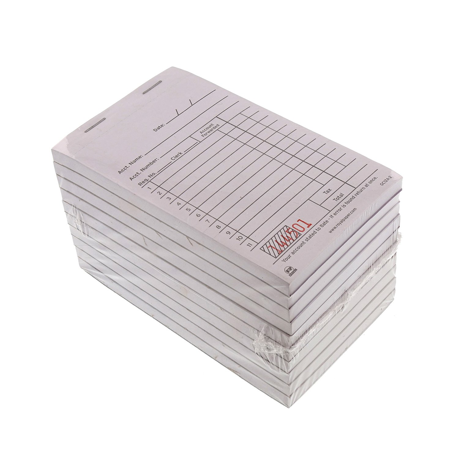 Royal White Sales Book Paper, Carbon 2 Part Booked, Package of 10 Books