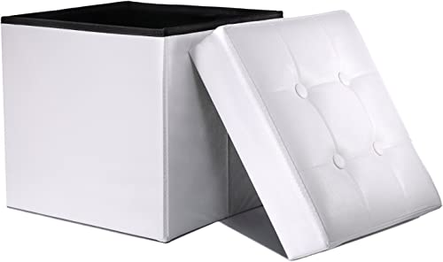 WoneNice Folding Storage Ottoman Cube Foot Rest Stool Seat White