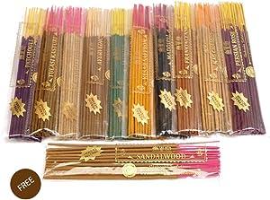 FREE Sandalwood Variety Pack in Herbal Treat Agarbatti | Frankincense | Nag Champa | Patchouli | Jasmine | Persian Rose | Ayurvedic | Maddipal | Kesar Saffron | Tulasi Lobhan | Tulasi Kasturi | Incense Sticks Set of 10 Fragrances
