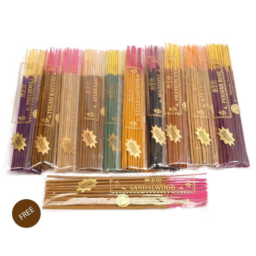 Ikshvaku Herbal Incense | Free Sandalwood Variety Pack in Herbal Treat Agarbatti | Incense Sticks Set of 10 Fragrance