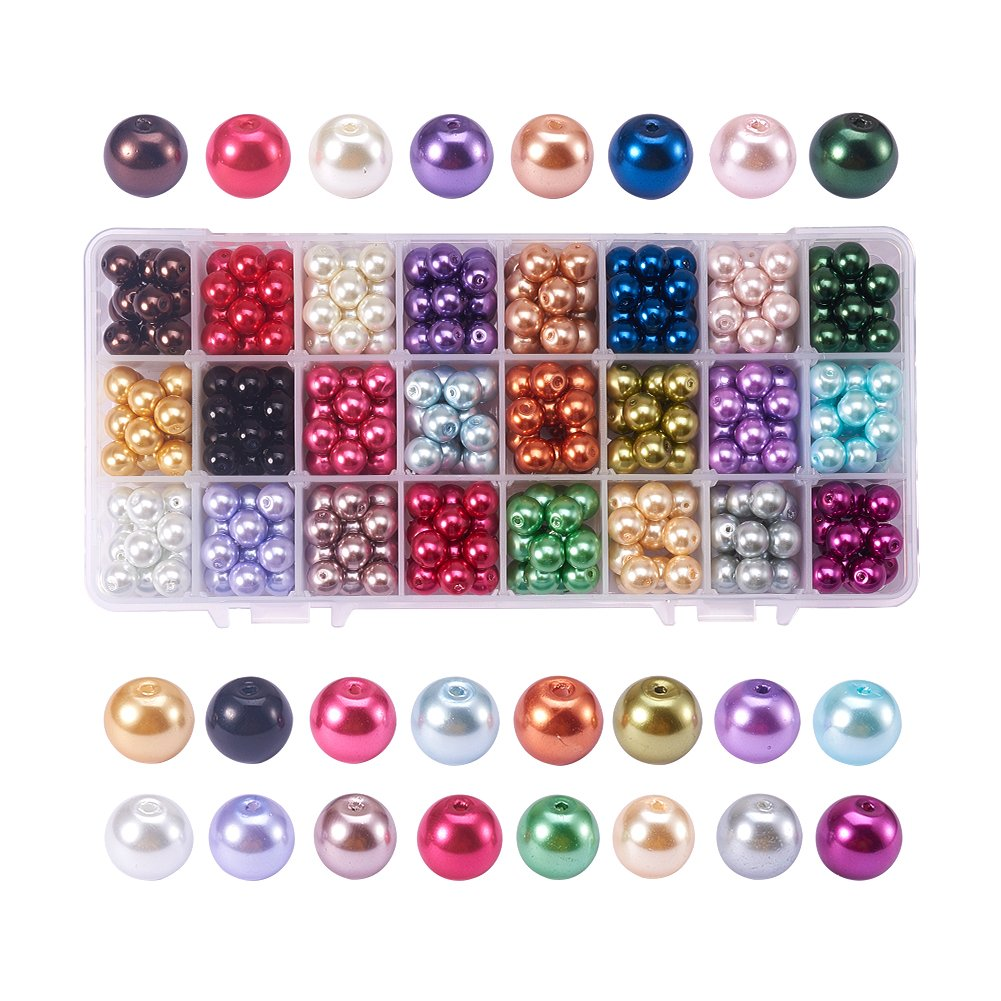 Pandahall Elite 1 Box (about 3600 pcs) 24 Color 4mm Handcrafted Crackle Lampwork Glass Round Beads Assortment Lot for Jewelry Making wh-CCG-PH0002-01-4mm