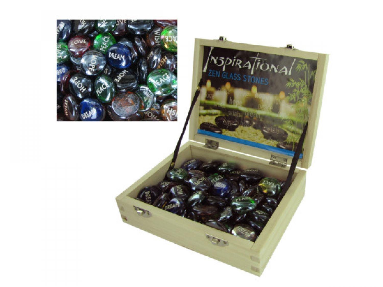Inspirational Zen Glass Stones Counter Top Display - Set of 72, [Home Decor, Decorative Stones]