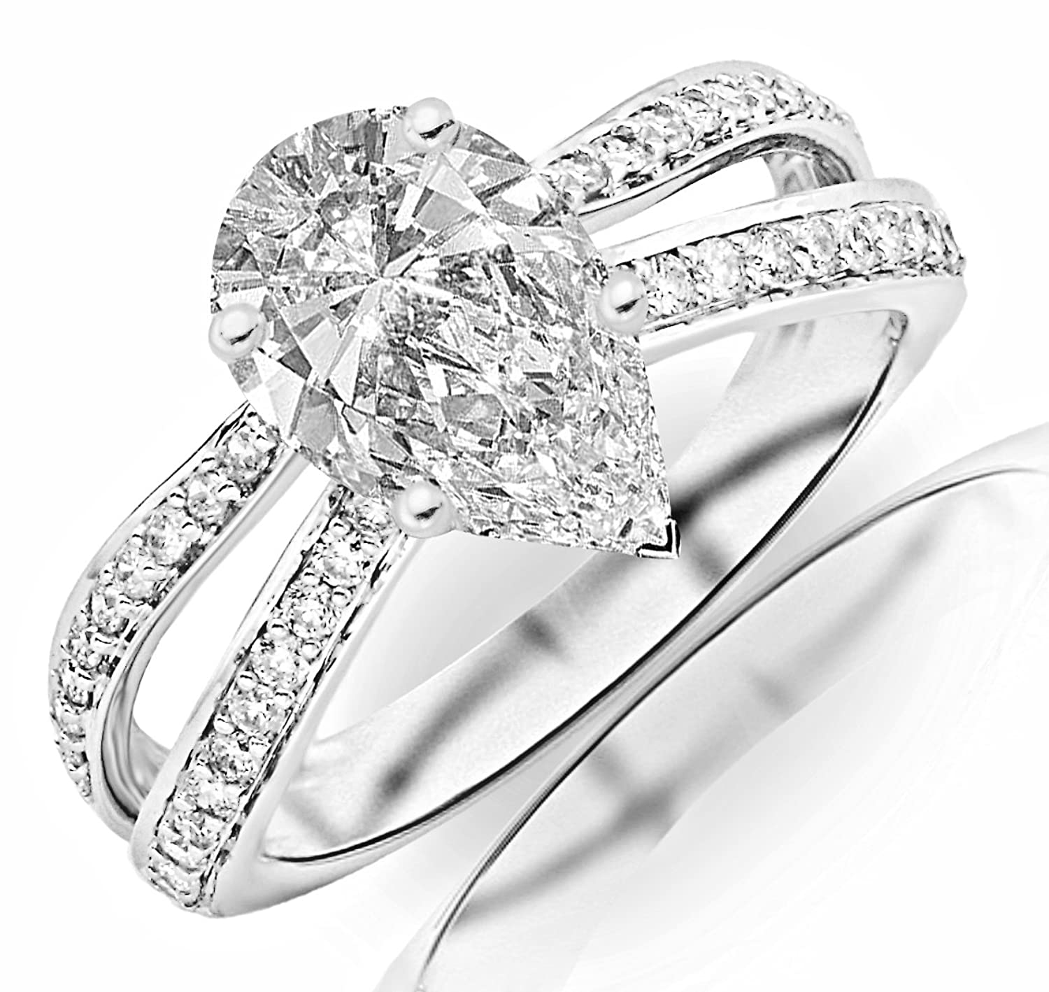 0.97 Carat GIA Certified Pear Cut / Shape Contemporary Double Row Split Shank Engagement Ring ( G Color , VVS2 Clarity )
