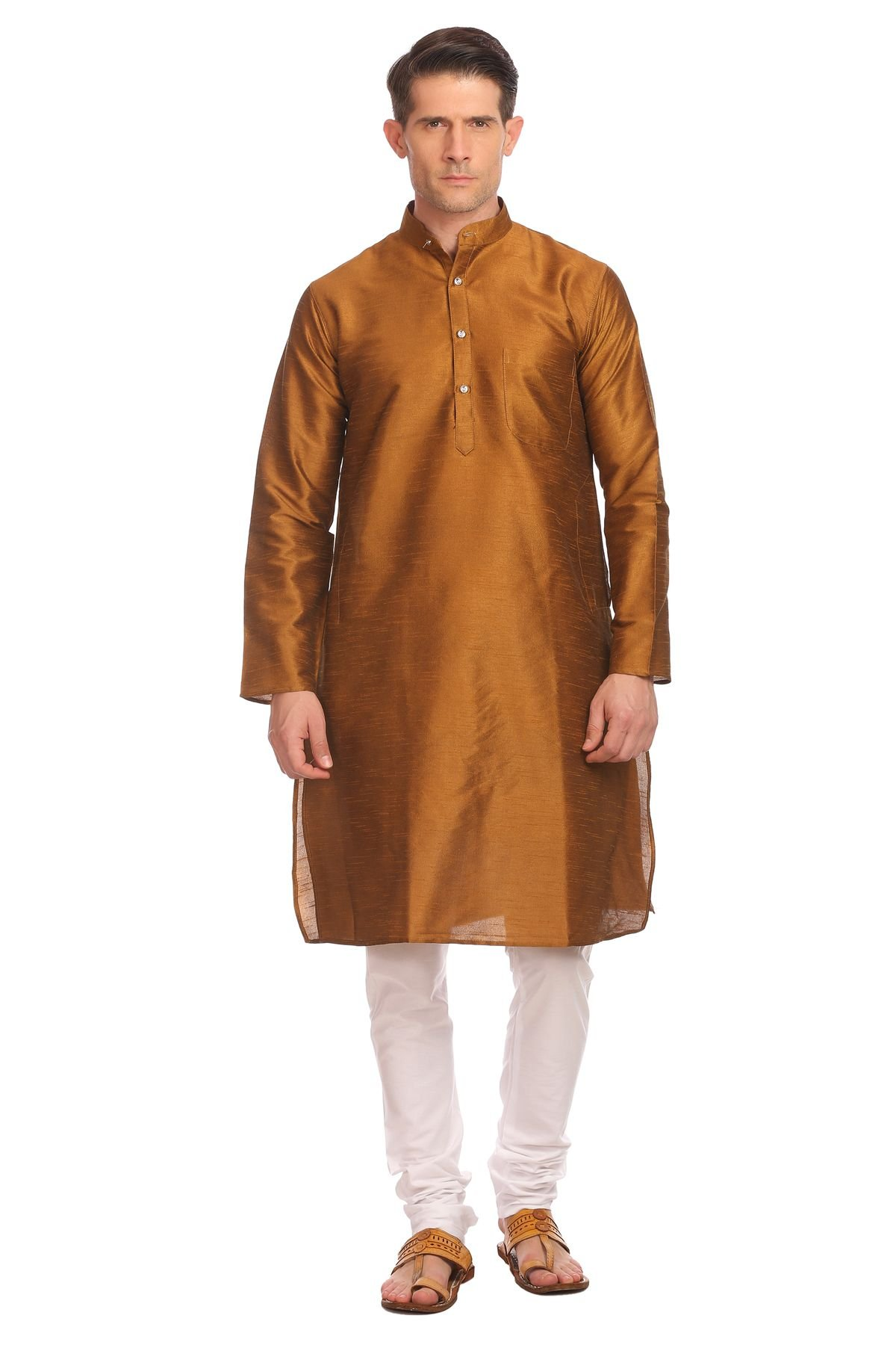 WINTAGE Men's Banarasi Art Silk Bandhgala Festive and Casual Gold Kurta Pyjama by WINTAGE