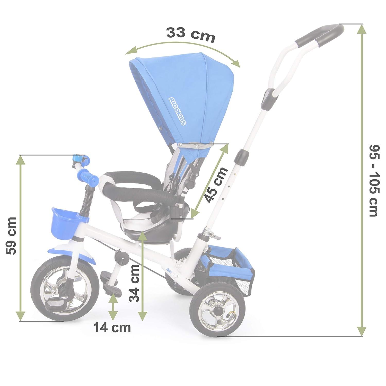 Ricokids Dreirad Fahrrad Kinderwagen f/ür Kinder mit Sonnendach grau-blau