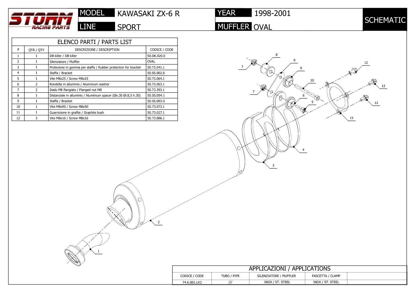 74.K.001.LX2 Escape Storm by Mivv Silenciador Oval Acero para Zx-6 R 1998 98