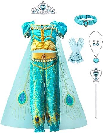 Princess Jasmine Aladdin kids Cosplay Party girls Fancy Dress Costume accessory
