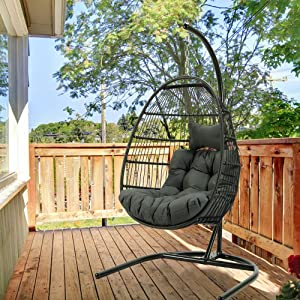 WALTSOM Swing Chair with Stand, (Foldable) Rattan Wicker Hanging Egg Chair with Cushion and Headrest Hammock Chair for Indoor Outdoor Bedroom Patio Garden (Deep Gray)