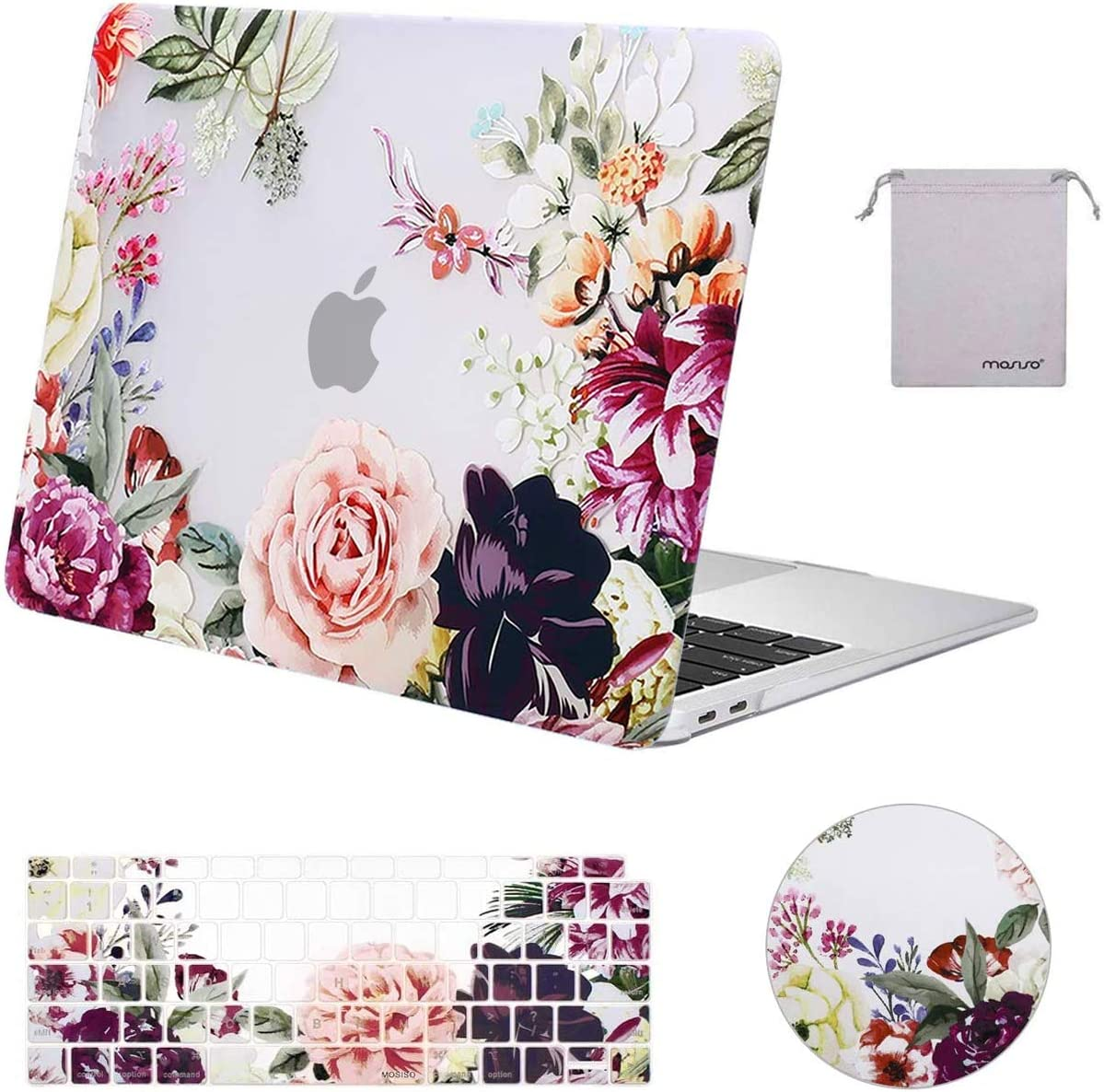 MOSISO MacBook Air 13 inch Case 2020 2019 2018 Release A2179 A1932 Retina Display,Plastic Pattern Hard Case & Keyboard Cover & Mouse Pad & Storage Bag Only Compatible with MacBook Air 13, Rose Leaves