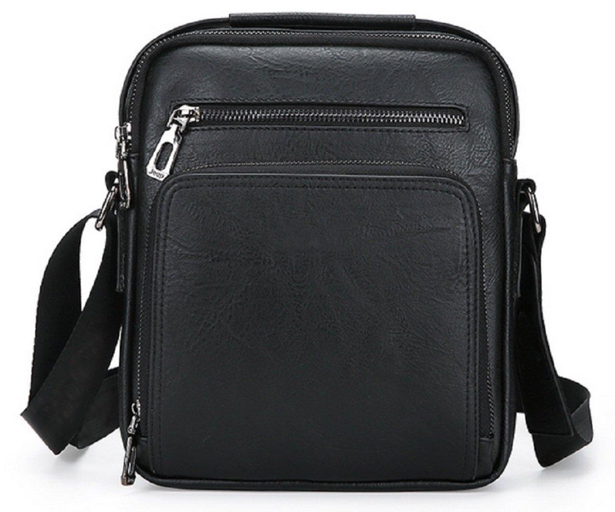 Black Fashion Men Bag Wrinkled Leather Men's Shoulder Bag iPad Bag DYTUYGF