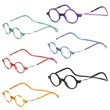 00a603f62b Liansan Gafas de Lectura redonda unisex clic magnético Progresivo - Vintage  - Funda ajustable gafas de lectura 1.0 1.5 2.0 2.5 3.0 3.5 4.0 con l6100:  ...