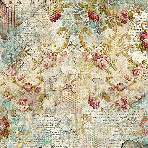 - Stamperia Intl Time is an Illusion W/Floral Texture Stamperia Rice Paper Napkin