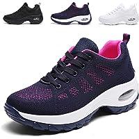 [WOWEI] ウォーキングシューズ レディース 超軽量 メッシュ 厚底 レースアップ スニーカー 歩きやすい 疲れない 矯正靴 ダイエット 美脚 ナースシューズ 看護師 作業靴 婦人靴 22.5-26.0CM