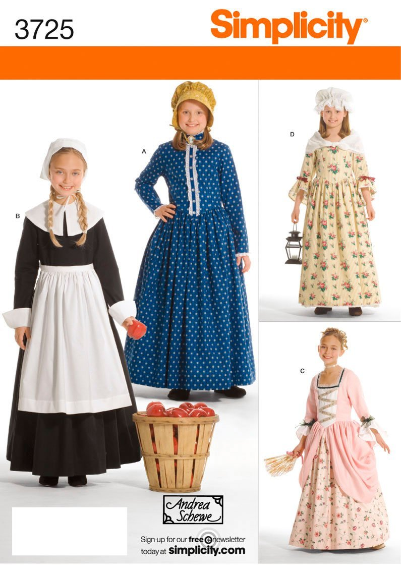 Amazon.com: Simplicity Historical Dresses Sewing Pattern Costumes For Girls  By Andrea Schewe, Sizes 7 14: Arts, Crafts U0026 Sewing