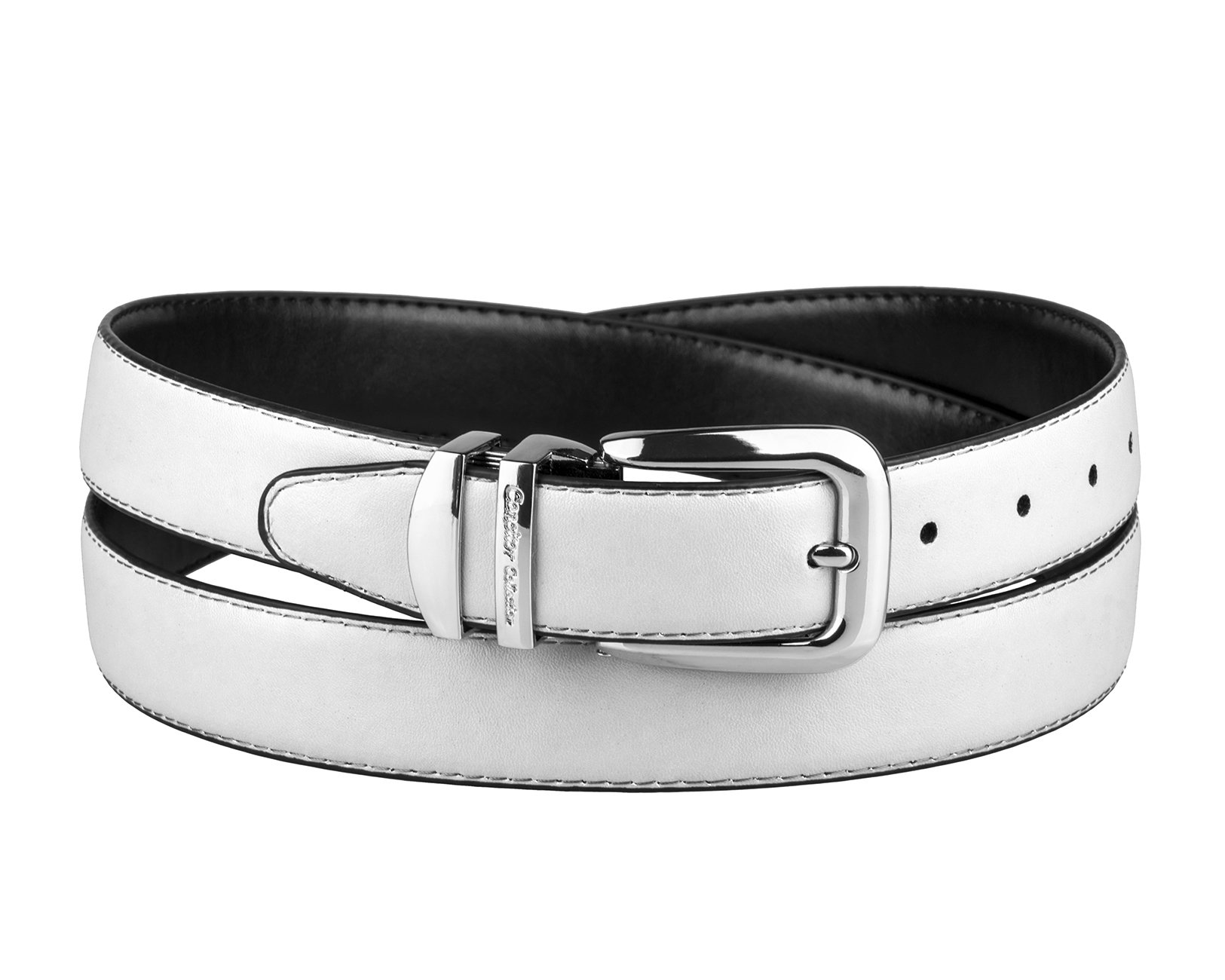 CONCITOR Reversible Wide Belt WHITE Black Bonded Leather Silver-Tone Buckle 48 by Concitor (Image #1)