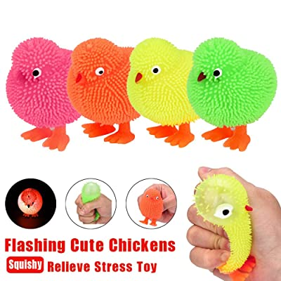 Elevin(TM)???????? 6CM Novelty Flashing Puffer Chickens Squidgy Sensory Toy Activity and Play Ball: Toys & Games