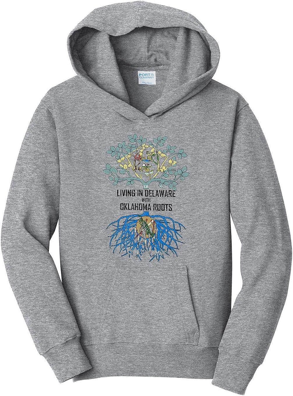 Tenacitee Girls Living in Delaware with Oklahoma Roots Hooded Sweatshirt
