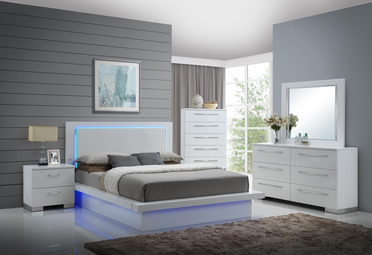 Com Saturn Led Light Modern 5 Piece Queen Bedroom Set With 2 Nightstands In White Lacquer Kitchen Dining