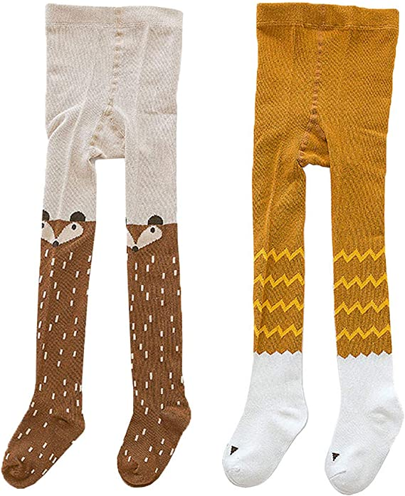 Baby Girls Tights 2 Pack Cotton Legging Pants for Infant Toddler Kids