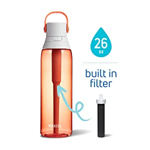 Brita Premium Filtering Water Bottle, 26 oz, Coral