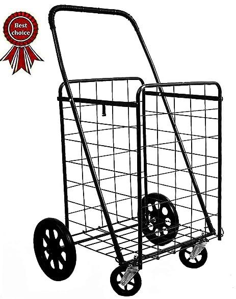 ultimate new black heavy duty metal caster swivel new front wheels folding shopping grocery laundry cart