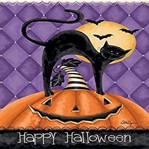"Lang - Large Garden Flag -Happy Halloween, Exclusive Artwork by Lori Lynn Simms - All-Weather, Fade-Resistant Polyester - 28"" w x 40"" h"
