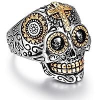 Sugar Skull Rings for Men Women, Stainless Steel Day of the Dead Gothic Cross Mens Jewelry, Womens Biker Cool Ring