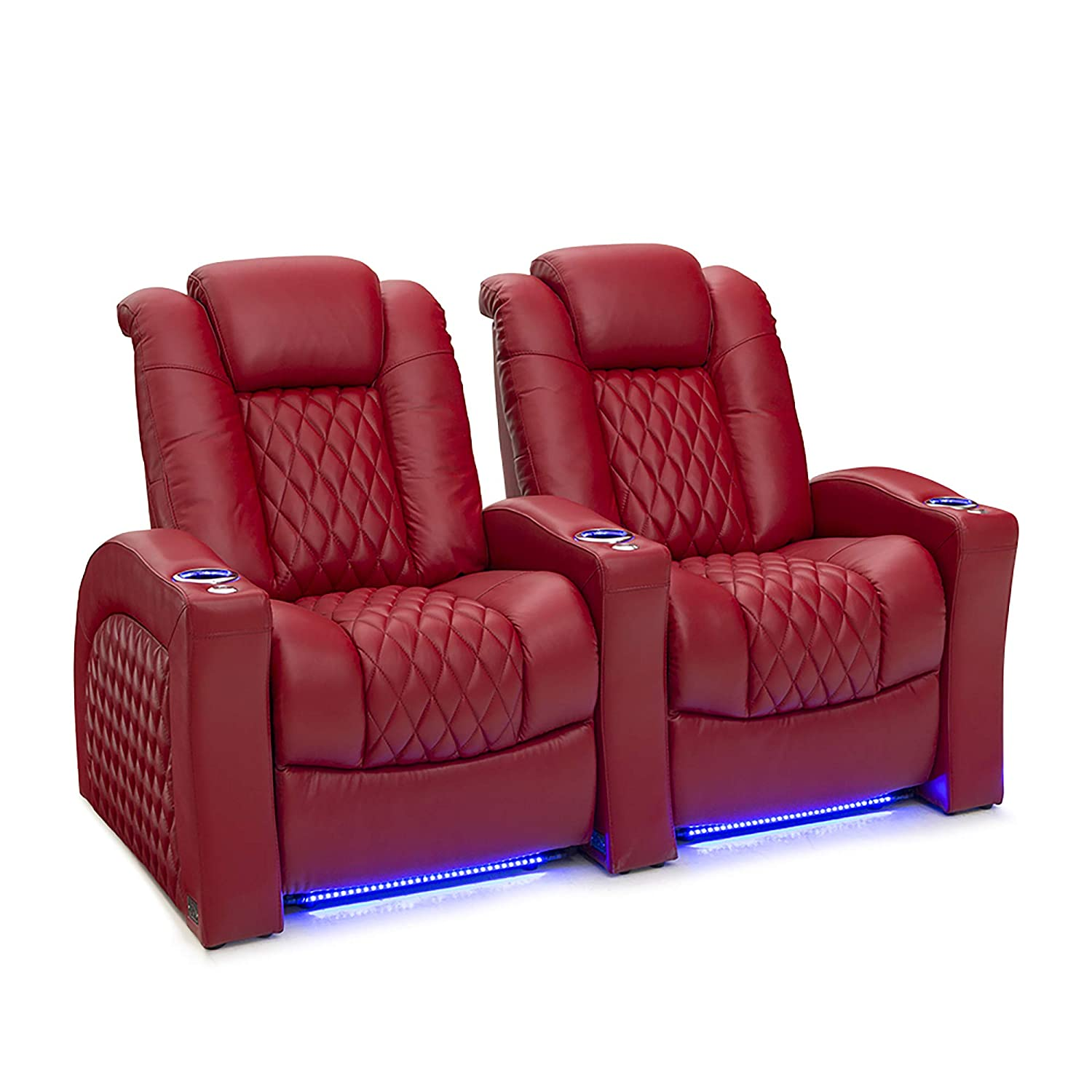 Base Lighting USB Charging Power Recliner Home Theater Seating Seatcraft Stanza Leather Brown Adjustable Powered Headrest and Lumbar Support SoundShaker Lighted Cup Holders